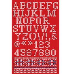 Christmas knitted font in scandinavian style on vector