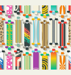 Various longboards seamless pattern vector