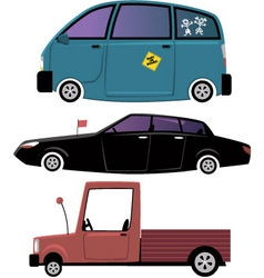 Three cartoon cars vector