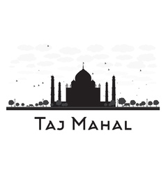 Taj mahal skyline black and white silhouette vector