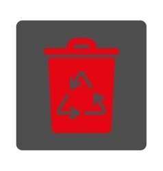 Rubbish basket rounded square button vector