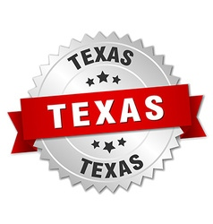 Texas round silver badge with red ribbon vector