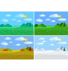 Set forest landscapes seasons vector