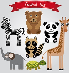 animal set zebra turtle giraffe elephant panda vector image
