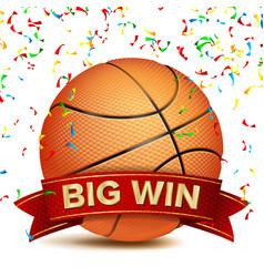 basketball award red ribbon big sport vector image vector image