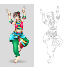 Beautiful indian women dancing coloring isolated vector
