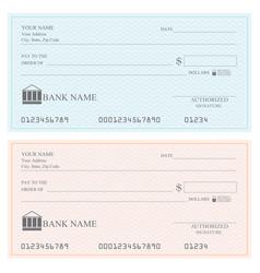 blank bank checks or cheque book vector image vector image