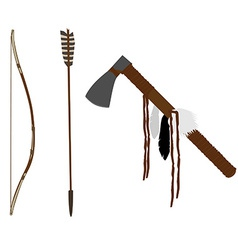 Bow and tomahawk vector image vector image