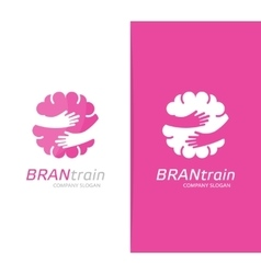 brain and hands logo combination Education vector image vector image