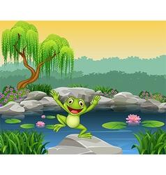 Cartoon happy frog jumping on the rock vector