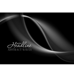 Dark abstract monochrome smooth waves background vector image vector image