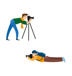 flat man with photo camera set vector image vector image