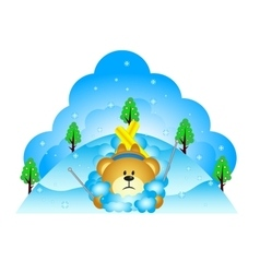 Little bear fell while skiing vector image vector image