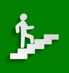 Man on stairs going up paper whitish icon vector
