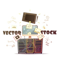 Microstock concept retro cartoon vector