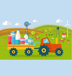 Milk eco farm concept in flat style design vector