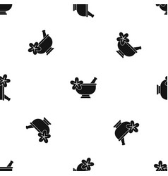 Mortar and pestle pharmacy pattern seamless black vector