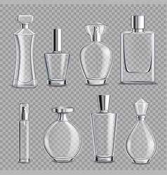 Perfume glass bottles realistic transparent vector