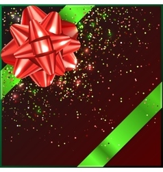 Red and green christmas bow with confetti on gift vector