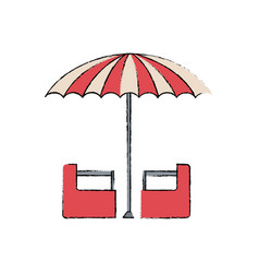 red and white umbrella circus equipment vector image