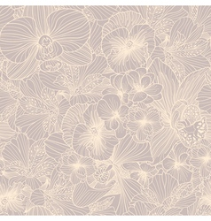 Seamless flower engraving pattern vector image