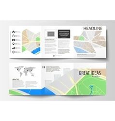 Set of business templates for square tri fold vector