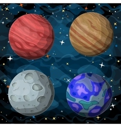 Set of cosmic planets in outer space vector image