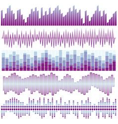 Set of purple sound waves vector