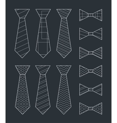 Set of Ties and Bow Ties vector image vector image