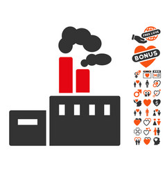 Smoking factory icon with valentine bonus vector