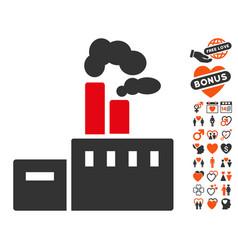 smoking factory icon with valentine bonus vector image