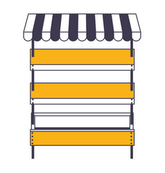 supermarket shelves empty with three levels and vector image