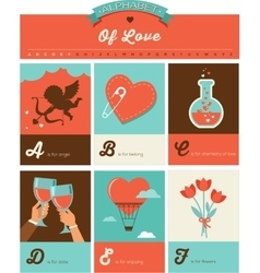 Valentines day ABC alphabet poster vector image vector image
