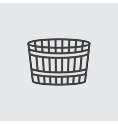 Wooden bucket icon vector