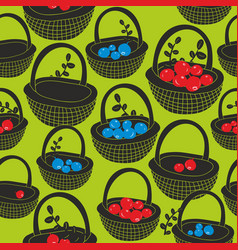 Black baskets with summer berries on the green vector