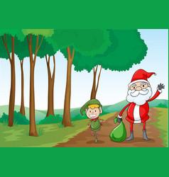 a boy and a santa claus vector image