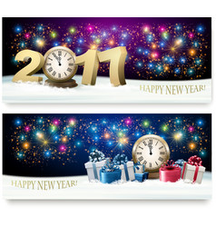 Happy new year background with presents and vector