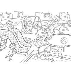 childrens playground coloring vector image