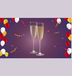 Champagne glasses with serpentine and confetti on vector
