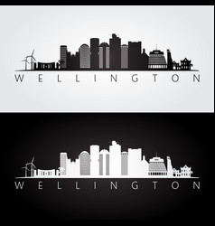 Wellington skyline and landmarks silhouette vector
