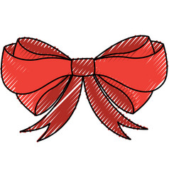 Scribble christmas bow cartoon vector