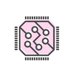 artificial intelligence icon with computer chip vector image