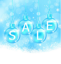Christmas background with balls lettering sale vector image