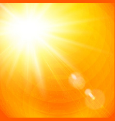 Vivid orange sunburst with sun flare vector