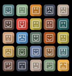 Square face line flat icons with long shadow vector