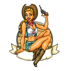 Pin up cowgirl label vector