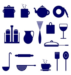Set of icons with elements of kitchen utensils vector