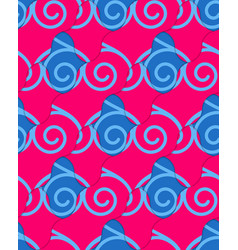 Retro 3d blue and pink wavy stripes crossed vector