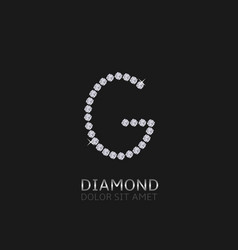 Letter g with gemstones vector