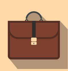 Brown business briefcase flat icon vector image